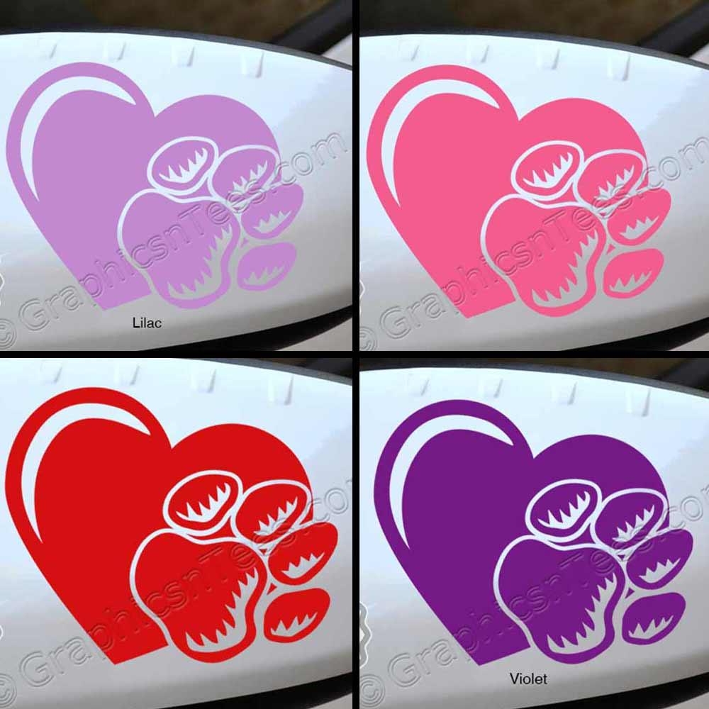 Dog Paw Prints Car Stickers Car Body Stickers Heart Paws