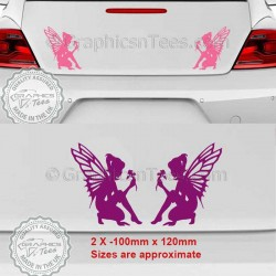 Fairy Pixie Sticker, Car Bumper Body Vinyl Graphic Decals x 2