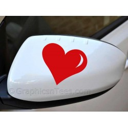 Heart  Wing Mirror, Bumper, Car Body Sticker -