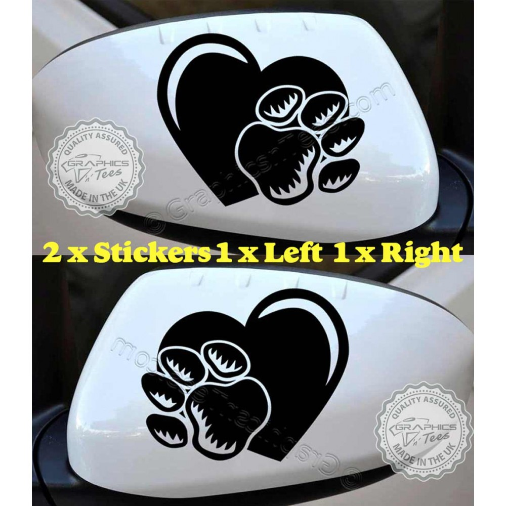 Dog Paw Prints Car Stickers Car Body Stickers Heart Paws