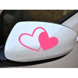 Twin Hearts Sticker  Wing Mirror, Bumper, Car Body Sticker -
