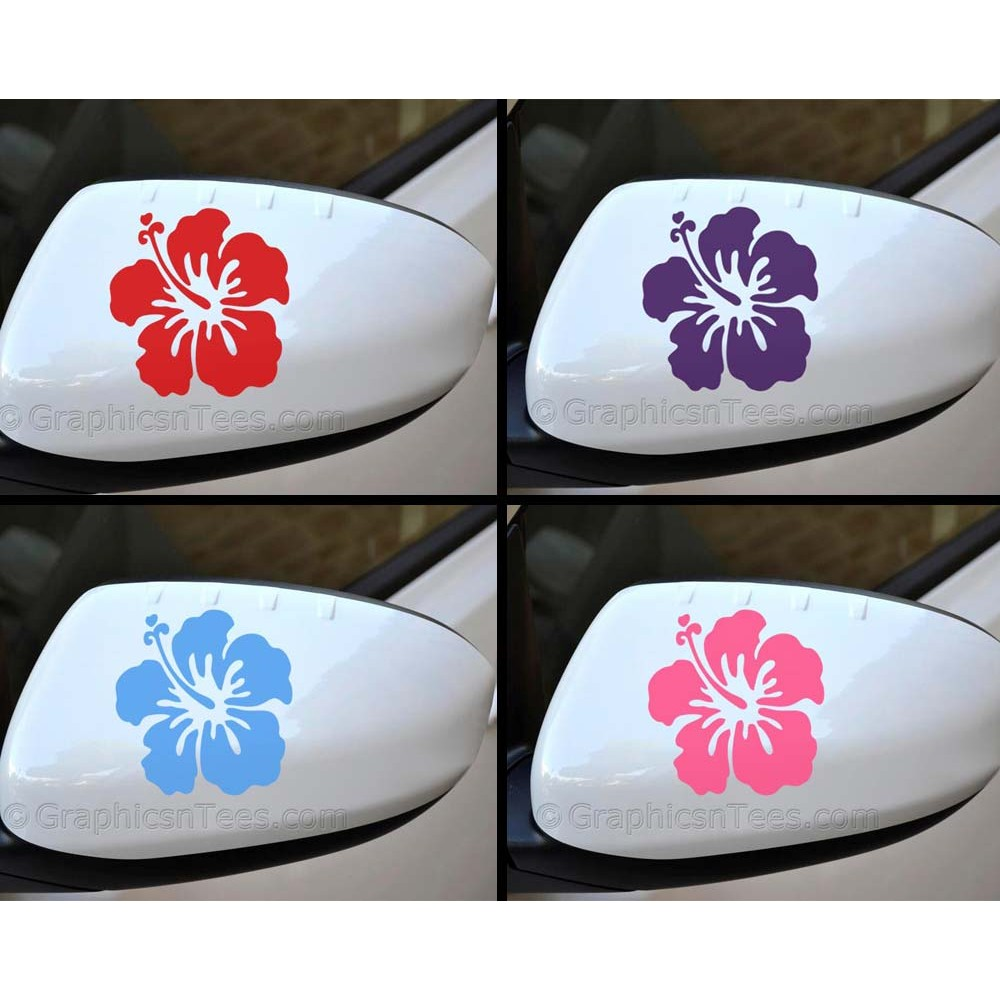 Hibiscus flower wing mirror bumper car body stickers for Mirror stickers