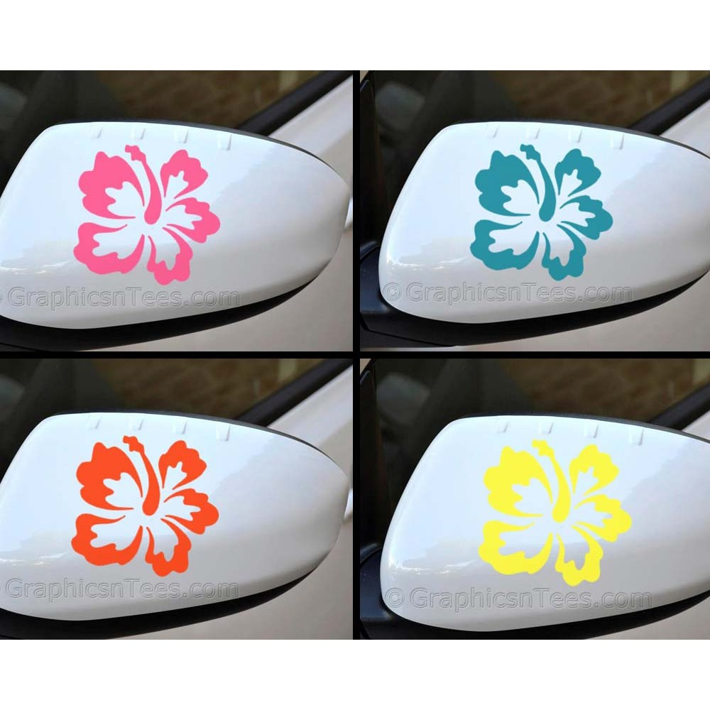 Hibiscus flower wing mirror bumper car body stickers 01 izmirmasajfo