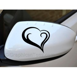 Heart  Wing Mirror, Bumper, Car Body Sticker - 01