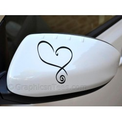 Heart  Wing Mirror, Bumper, Car Body Sticker - 02