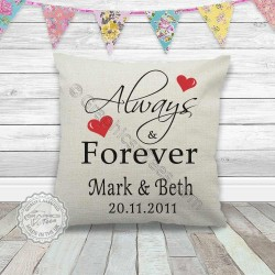 Always & Forever Personalised Cushion Wedding Anniversary Special Occasion  Gift Present with Names & Date