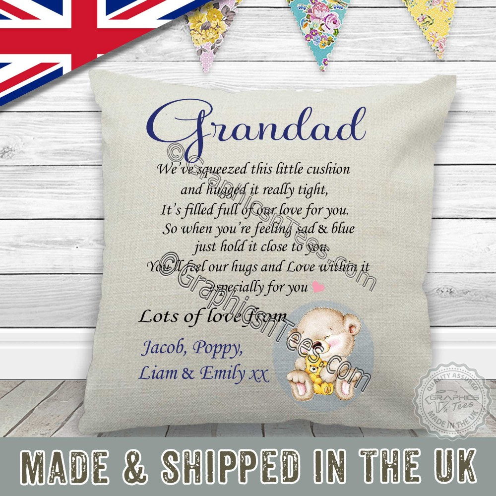 Nanny Grandad Gift for Mother/'s Day CUSH003 Personalised Cushion Hug Cushion Gift This cushion contains a hug Grandma present