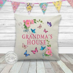 Grandma's House Printed On Quality Linen Textured Cream Cushion Cover with Flowers & Butterflies Ideal Birthday, Mothers Day Christmas Gift Idea