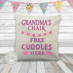 Grandma's Chair Free Cuddles Fun Quote Printed On Quality Linen Textured Cream Cushion Ideal Birthday, Mothers Day Christmas Gift Idea