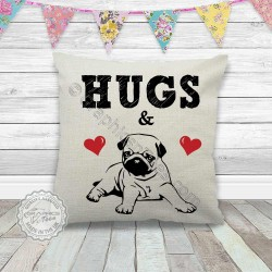 Hugs & Pug Cushion Printed on a Quality Linen Textured Cream Cushion - Pug Cushion Cover