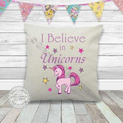 I Believe in Unicorns Printed on a Quality Linen Textured Cream Cushion