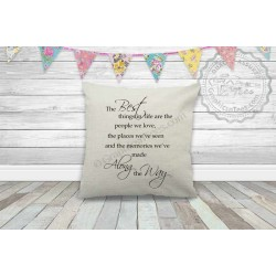 Best Things in Life, Memories We Make Inspirational Family Quote on Quality Textured Cream Linen Cushion