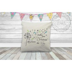 Follow Your Dreams Inspirational Quote on a Quality Textured Cream Linen Cushion with Dandelion Blowing in the Wind and Dragonflies