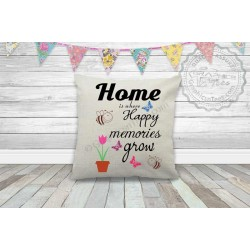 Home Where Happy Memories Grow Family Quote on Quality Textured Cream Linen Cushion