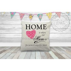 Home is Where Our Mum is, Personalised Quality Linen Textured Cushion