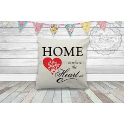 Home is Where The Heart  is Quality Textured Cream Linen Cushion