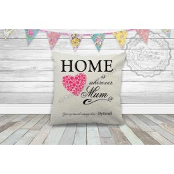 Home is Wherever Mum is, Personalised Quality Linen Textured Cushion