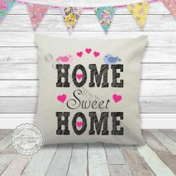 Home Sweet Home Cushion Printed on a Quality Linen Textured Cream Cushion with Adorable Pink & Blue Birds