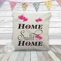 Home Sweet Home Cushion Printed on a Quality Linen Textured Cream Cushion with Hearts