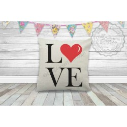 LOVE with Red Heart Printed on Quality Textured Cream Linen Cushion
