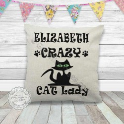 Personalised Crazy Cat Lady Cushion Fun Quote on Quality Linen Textured Cream Cushion Ideal Cat Lovers Gift