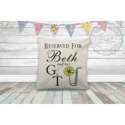 Gin & Tonic Quote Personalised Reserved For Name and G & T Fun Quote on Quality Linen Textured Cream  Cushion