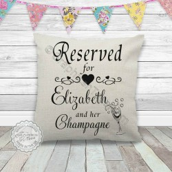 Personalised Reserved For Name and Champagne Fun Quote on Quality Textured Cream Linen Cushion