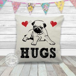 Pug Hugs on a Quality Linen Textured Cream Cushion - Pug Cushion Cover