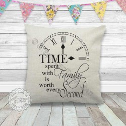 Time Spent With Family Inspirational Quote Printed on a Quality Linen Textured Cream Cushion Cover